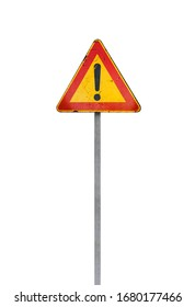 Caution road sign with exclamation mark isolated on white background
