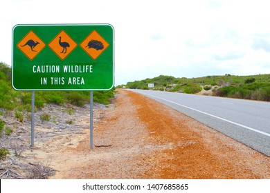 Caution sign for Kangaroo, Emu and Echidna wildlife animals, driving in Pinnacles desert National Park, Western Australia