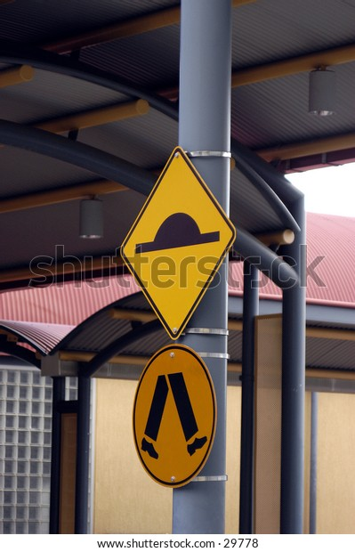 Caution signs.
