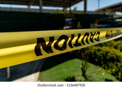 caution tape at construction site