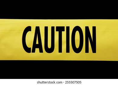 Caution Tape with isolated background on black