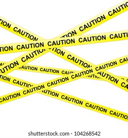 The Caution Tape Isolated on White Background