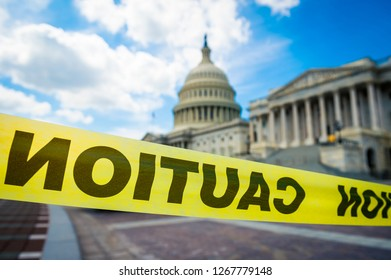 Caution tape surrounding the Capitol Building in Washington DC