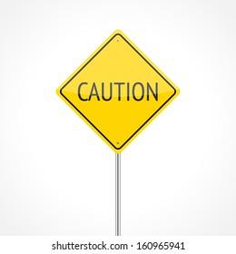 Caution traffic sign isolated on white background (raster illustration)