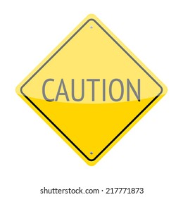 Caution traffic sign isolated on white background