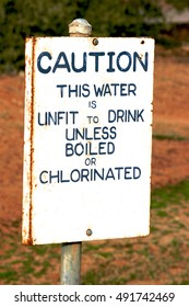 Caution water signage, outback Australia.