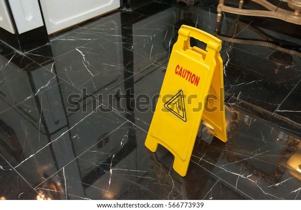 caution wet floor sign warning yellow sign