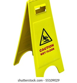 Caution wet floor and slippery surface sign - isolated over white background