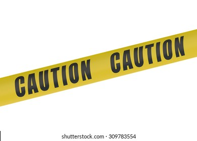 Caution Yellow Tape isolated on white background