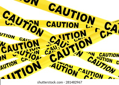 Caution Yellow Tape Strips on a white background