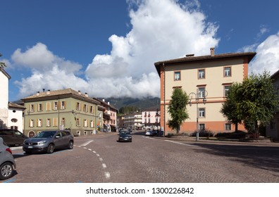 CAVALESE, ITALY ON SEPTEMBER 15. Street view from the center of the city on September 15, 2018 in Cavalese, Italy. Bright sunshine. Buildings.