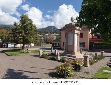 CAVALESE, ITALY ON SEPTEMBER 15. Landmark, memorial of fallen soldiers during the 1900s on September 15, 2018 in Cavalese, Italy. Name and year.