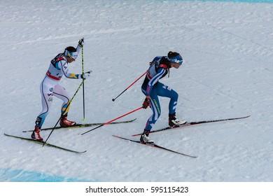 Cavalese (TN), Italy - January10 2016: Cross Country World Cup, Tour de Ski, Alpe Cermis, Val di Fiemme, Trentino