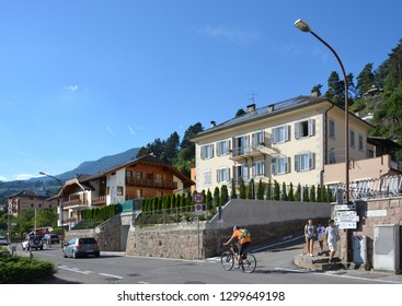 Cavalese, Trentino, Italy, Aug 14 2016. View of the main road as it enters the village
