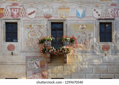 """Cavalese, Trentino,Italy, 14/8/16:The facade of the palace of the""""Magnifica Comunità""""at the centre of Cavalese.It was the residence of the Prince-bishops of Trento. The facade with frescoes, detail."""