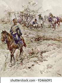 """Cavalry detachment. Illustration by artist A.P. Apsit from book """"Leo Tolstoy """"War and peace"""", publisher - """"Partnership Sytin"""", Moscow, Russia, 1914."""