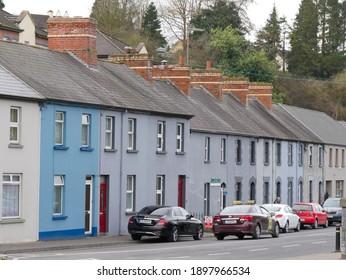 Cavan, Ireland - March 01 2019: Traditional Irish townhouse raw on Railway road, Cavan, Ireland.
