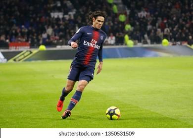 Cavani Edinson of Paris during the French Championship Ligue 1 between Olympique Lyonnais and Paris Saint-Germain 2/3/2019 Groupama stadium Decines-Charpieu Lyon, France