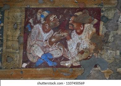 Cave 17 : Verandah. Ceiling painting Ajanta A UNESCO WORLD HERITAGE SITE near Aurangabad Maharashtra INDIA
