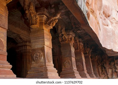 Cave 3: Pillared verandah or facade. Badami Caves, Karnataka. It is 70 feet, 21 m, in length with an interior width of 65 feet, 20 m.