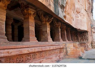 Cave 3: Pillared verandah or facade. Badami Caves, Karnataka, India. IT is 70 feet, 21 m, in length with an interior width of 65 feet , 20 m.