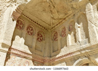 Cave church in Goreme- open air museum, Cappadocia, Turkey in a sunny summer day