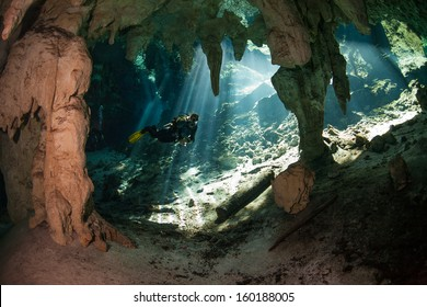 cave diving in cenote