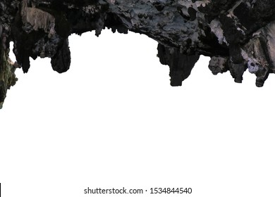Cave entrance, stalactites rocks, cave mouth stone isolate on white background