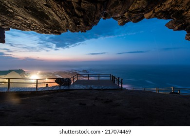 Cave look out point at sunrise in Mossel Bay, South Africa