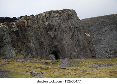 cave in natural cliff face in snowdonia, north wales