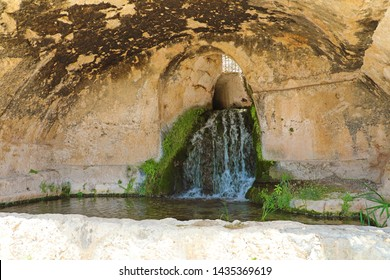 Cave of the Nymphaeum (Grotta del Ninfeo) artificial cave on Greek Roman theater in Syracuse (Siracusa), Sicily, Italy)