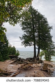 Cave Point county Park in Wisconsin, in early morning light during a rain storm