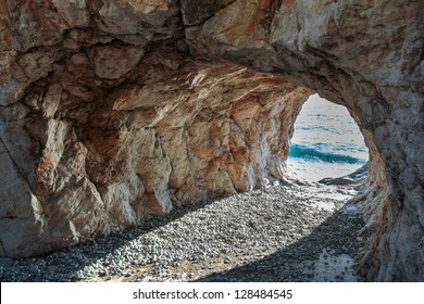 The cave in rock on the coast