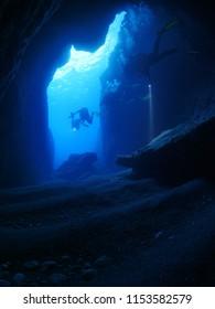 cave scenery underwater