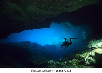 cave technical diving, sport, high risk of accidents, fear of caves