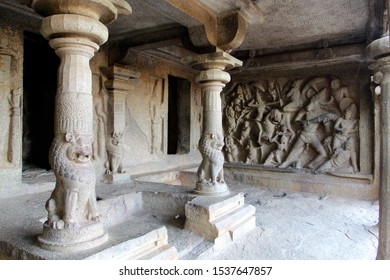 Cave Temple, carved out of rock - India, Tamilnadu