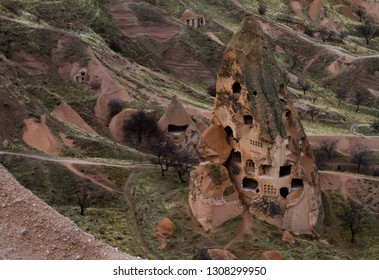 Cave town and rock formations in Zelve Valley, Goreme,  open air museum, Cappadocia, Nevsehir, Turkey. Ancient town and old houses in rock formations. The greatest tourist attraction.