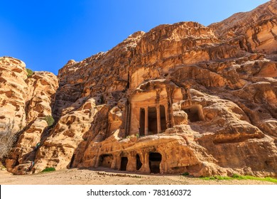 Caved buildings of Little Petra in Siq al-Barid, Wadi Musa, Jordan at daytime