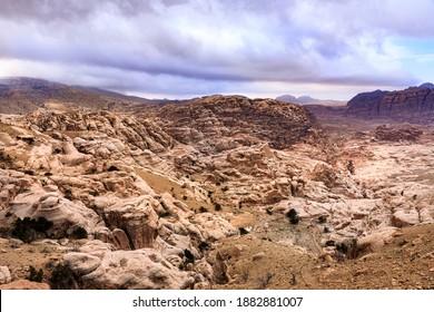 Caved buildings of Little Petra in Wadi Musa, Jordan