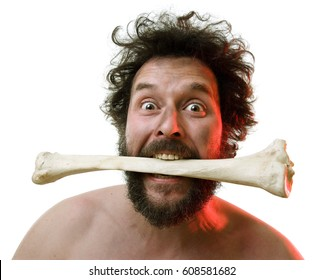 Caveman, manly man with Big Bone, showing of his strength and masculinity: Plus: he needs Meat.