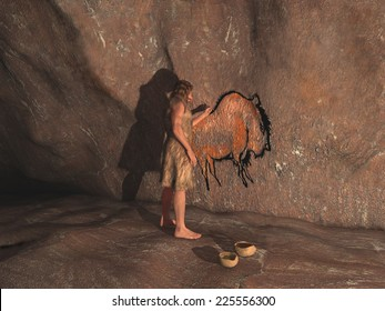 Caveman painting in a cave
