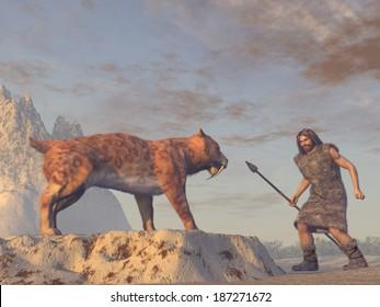 Caveman and Saber Tooth Tiger