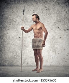 caveman with spear and fur