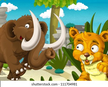 The cavemen - stone age - the mammoth - illustration for the children 27