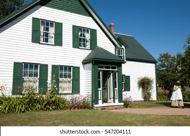 CAVENDISH, CANADA - August 9, 2016: Anne of Green Gables impersonator beside her house on Prince Edward Island