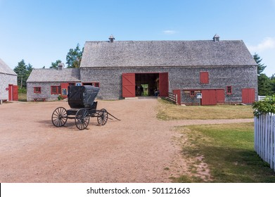 CAVENDISH, PEI/CANADA - AUG 7, 2016: The barn and carriage at the Green Gables farmhouse, one of the most notable literary landmarks (Anne of Green Gables novels by Lucy Maud Montgomery) in Canada.