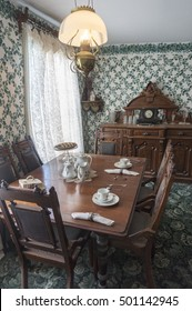 CAVENDISH, PEI/CANADA - AUG 7, 2016: The dining room of the Green Gables, one of the most notable literary landmarks (Anne of Green Gables novels by Lucy Maud Montgomery) in Canada.
