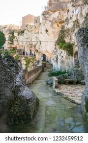 Caves at Sassi or stones of Matera European capital of culture 2019, Basilicata, Italy