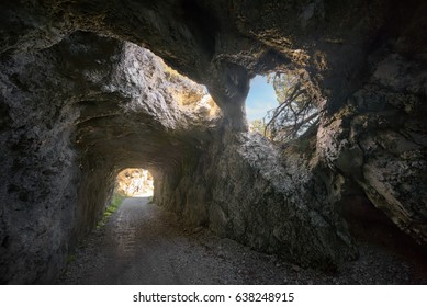 Caves with windows on Tremalzo mountain bike trail, Italy