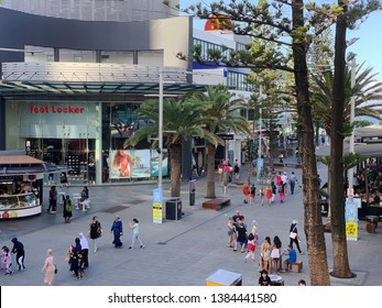 Cavill Ave Mall, QLD/Australia - APRIL 27 2019 - Multi Cultural pedestrians enjoying an afternoon stroll along the Beach end of Cavill Ave Mall for the Surfers Paradise Live Festival.